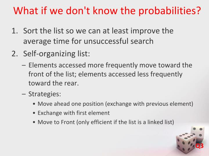 What if we don't know the probabilities?