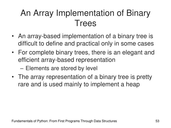 An Array Implementation of Binary Trees