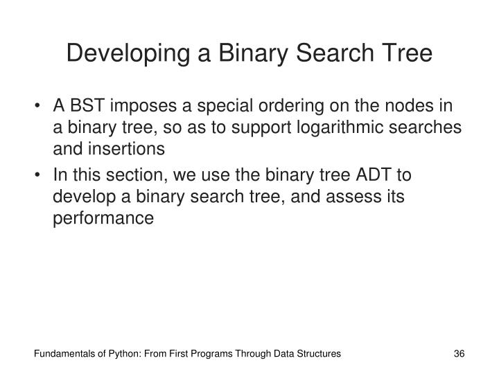 Developing a Binary Search Tree