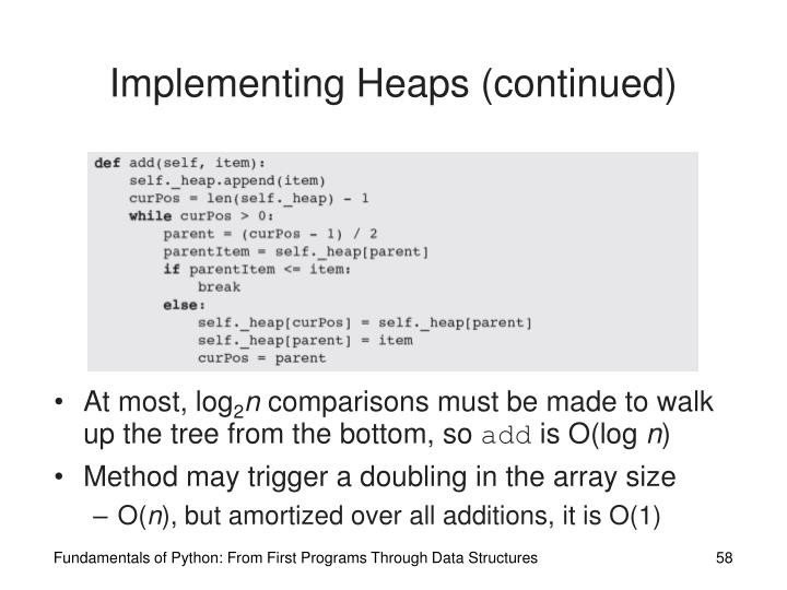 Implementing Heaps (continued)