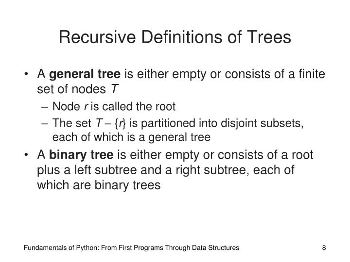 Recursive Definitions of Trees
