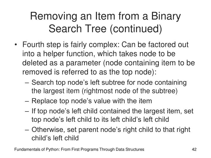 Removing an Item from a Binary Search Tree (continued)