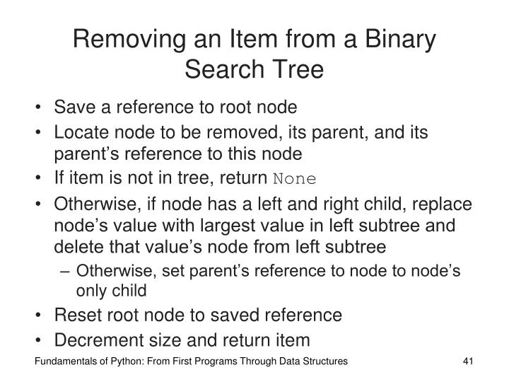 Removing an Item from a Binary Search Tree
