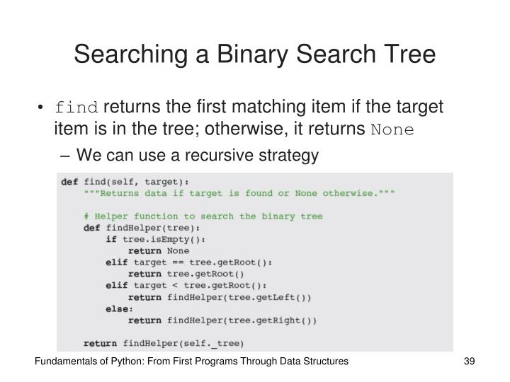Searching a Binary Search Tree