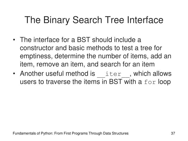 The Binary Search Tree Interface