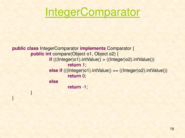 IntegerComparator