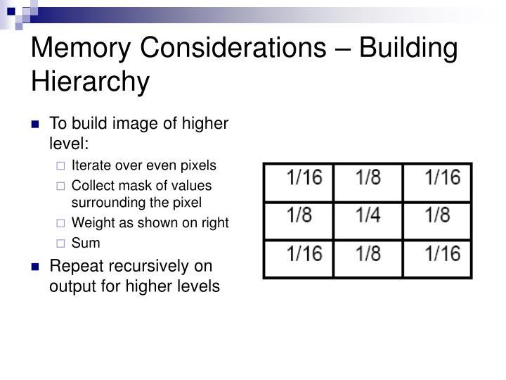 Memory Considerations – Building Hierarchy