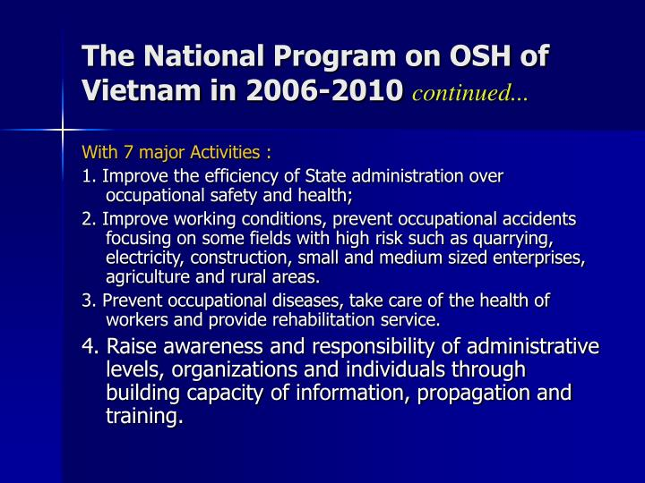 The National Program on OSH of Vietnam in 2006-2010