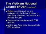 the vietnam national council of osh continued