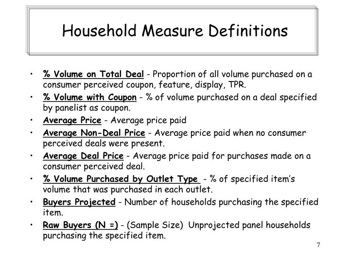 Household Measure Definitions