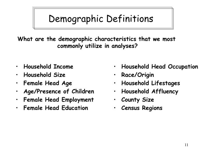 Demographic Definitions