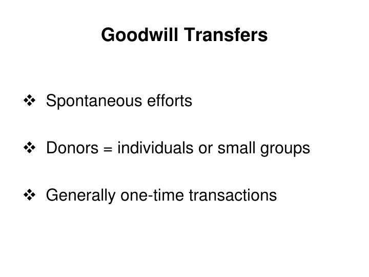 Goodwill Transfers