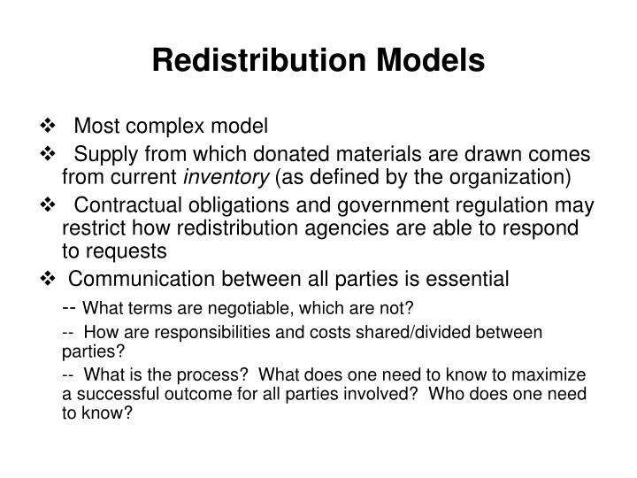 Redistribution Models