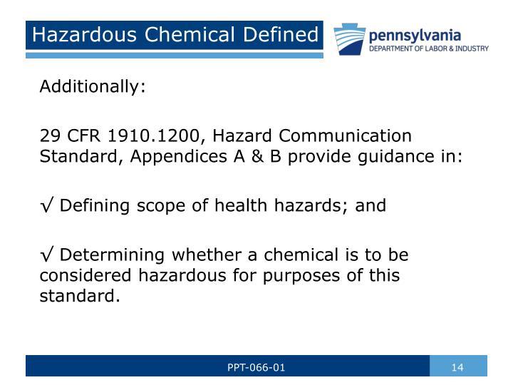 Hazardous Chemical Defined
