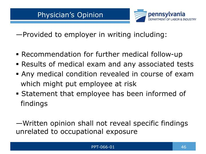 Physician's Opinion