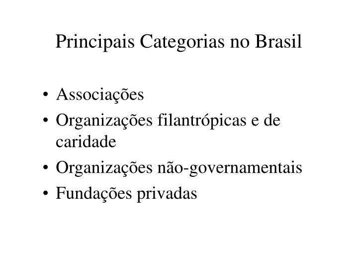 Principais Categorias no Brasil