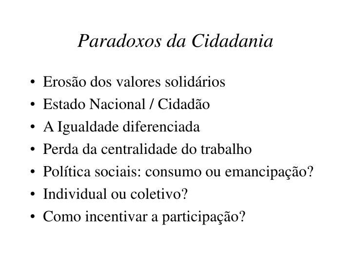 Paradoxos da Cidadania