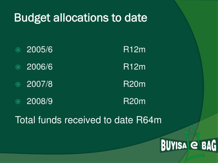 Budget allocations to date