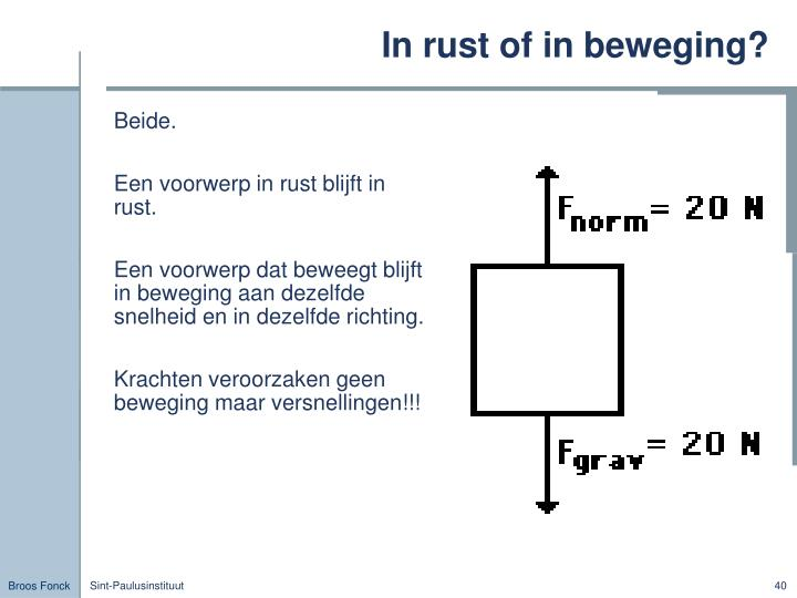 In rust of in beweging?