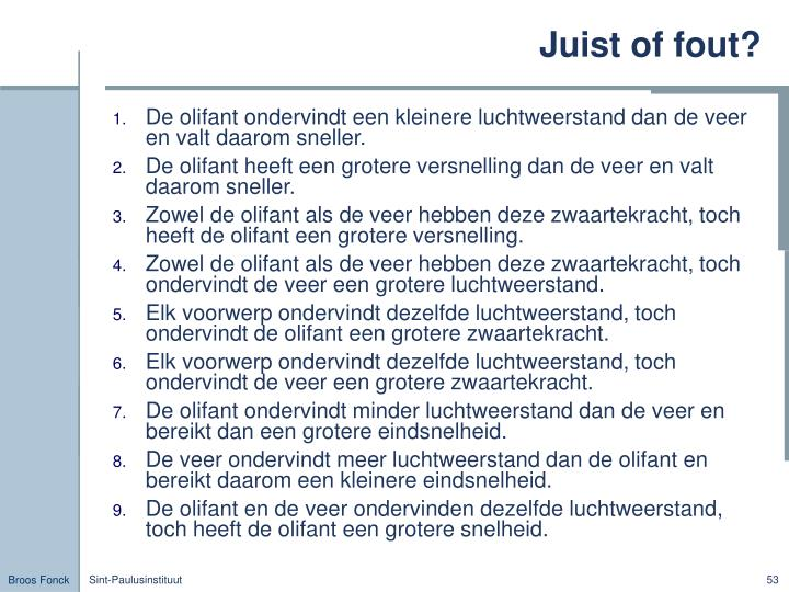 Juist of fout?