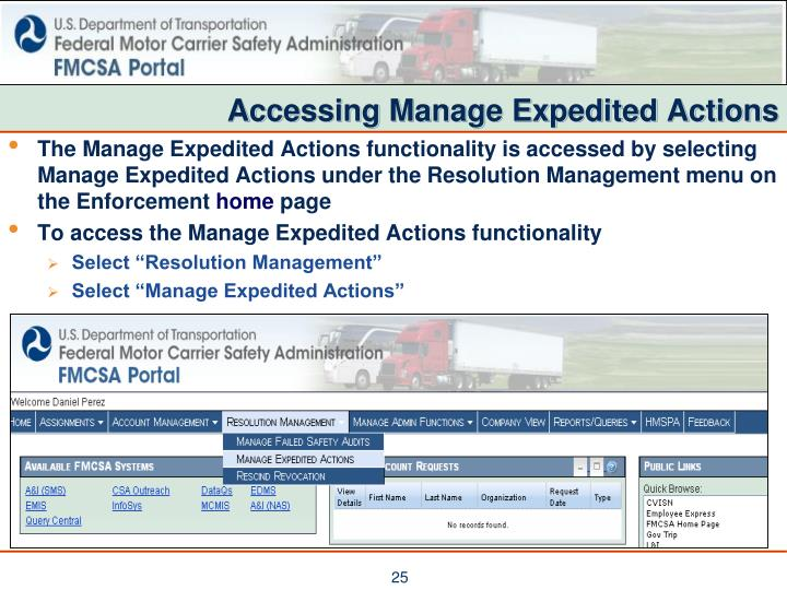 Accessing Manage Expedited Actions