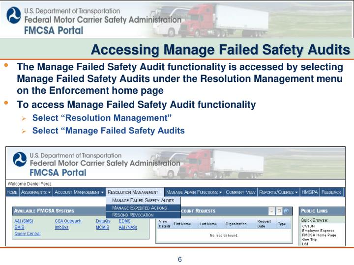 Accessing Manage Failed Safety Audits