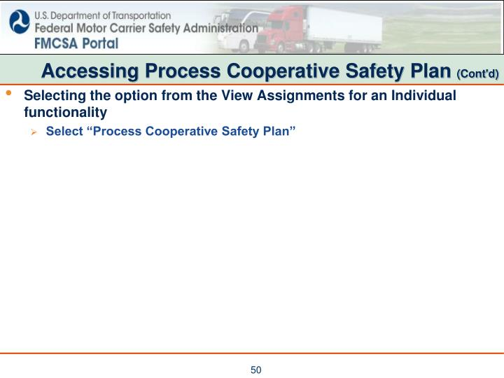 Accessing Process Cooperative Safety Plan