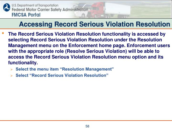 Accessing Record Serious Violation Resolution