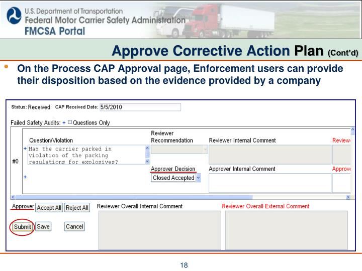 Approve Corrective Action