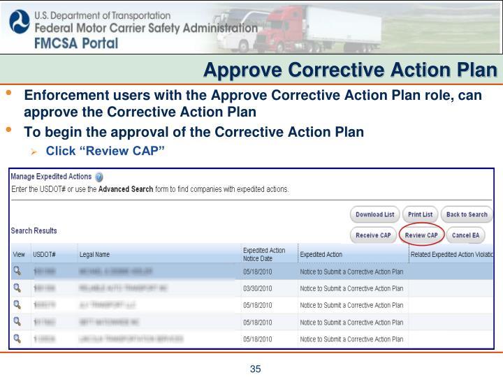 Approve Corrective Action Plan