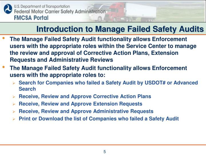 Introduction to Manage Failed Safety Audits
