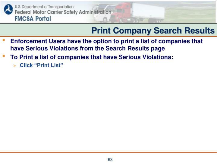 Print Company Search Results