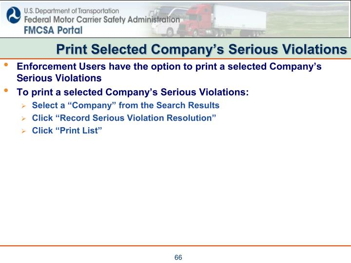 Print Selected Company's Serious Violations