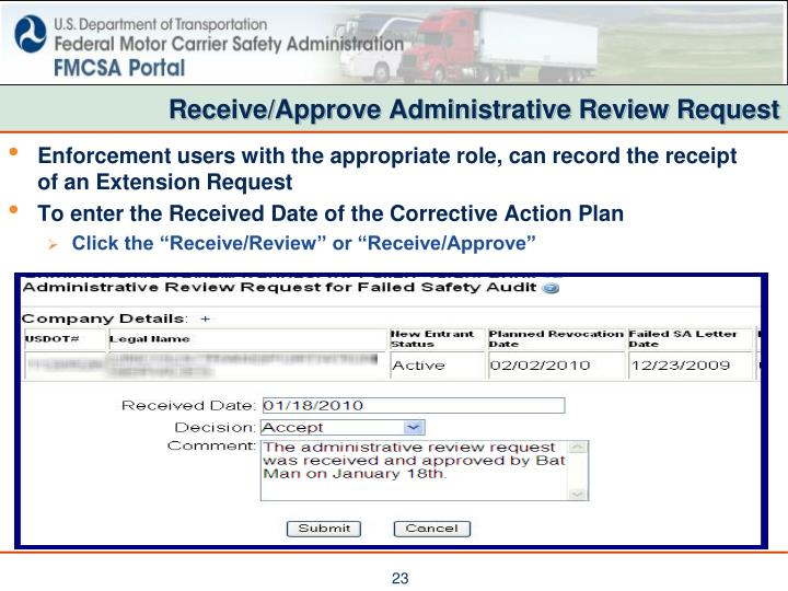 Receive/Approve Administrative Review Request