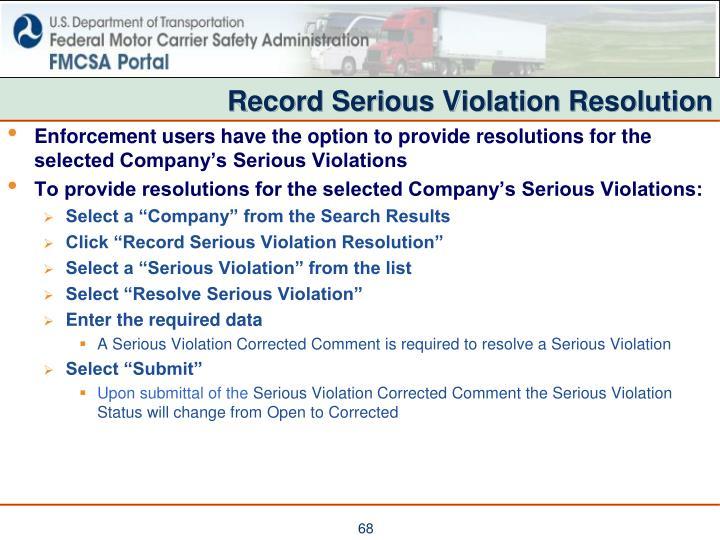Record Serious Violation Resolution