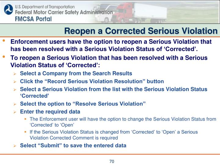 Reopen a Corrected Serious Violation
