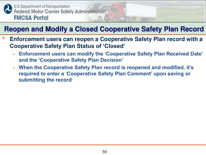 Reopen and Modify a Closed Cooperative Safety Plan Record
