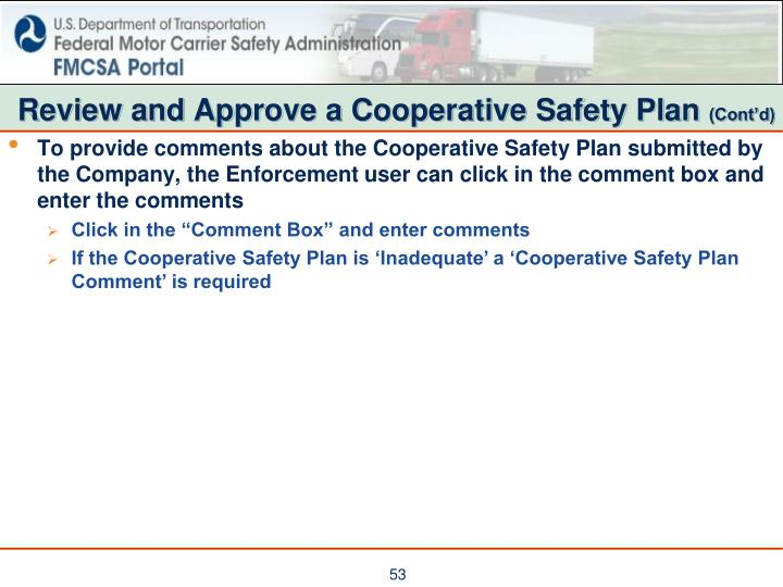 Review and Approve a Cooperative Safety Plan