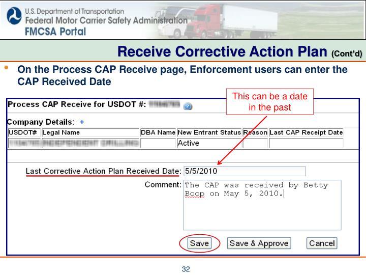 Receive Corrective Action Plan