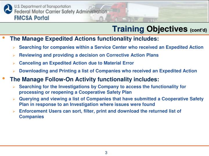 Training objectives cont d