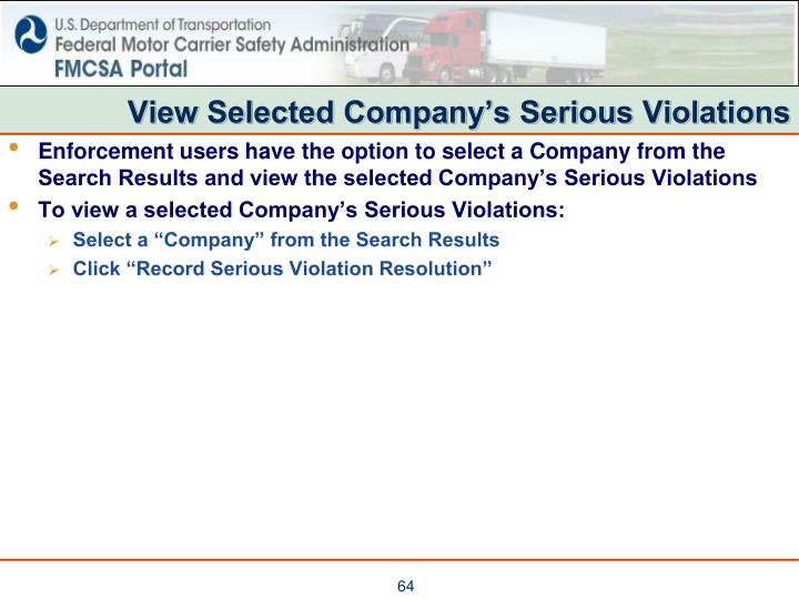 View Selected Company's Serious Violations