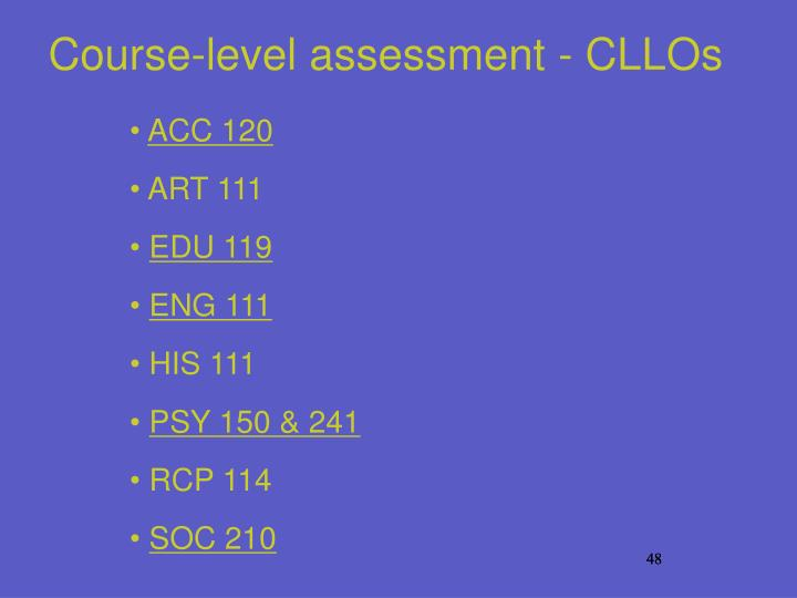 Course-level assessment - CLLOs