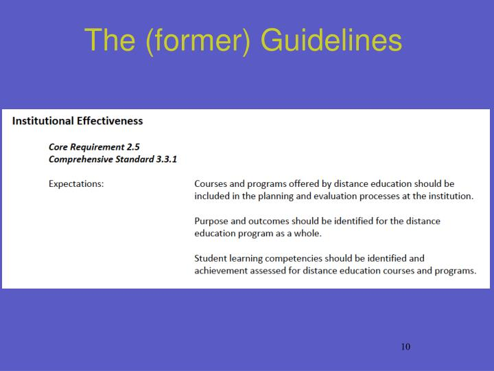 The (former) Guidelines