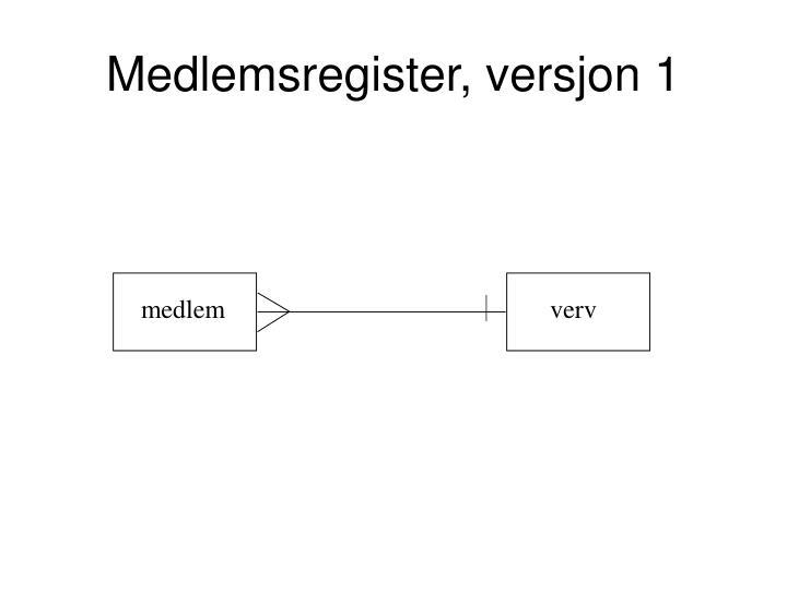 Medlemsregister, versjon 1