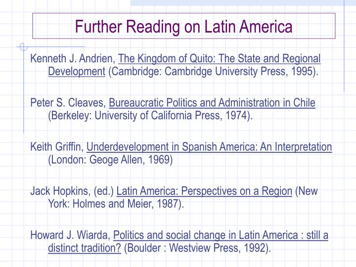 Further Reading on Latin America