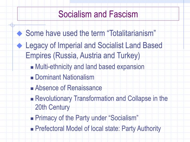 Socialism and Fascism