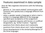 features examined in data sample