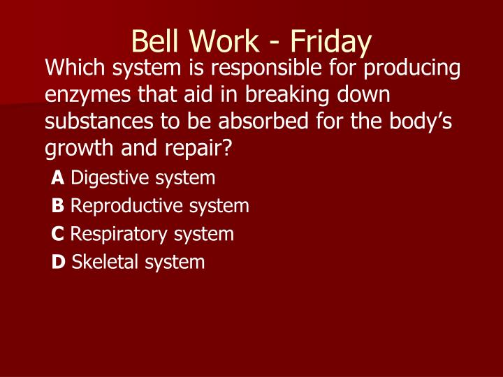 Bell Work - Friday