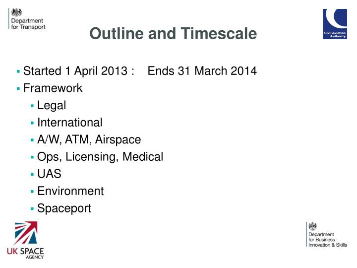 Outline and Timescale