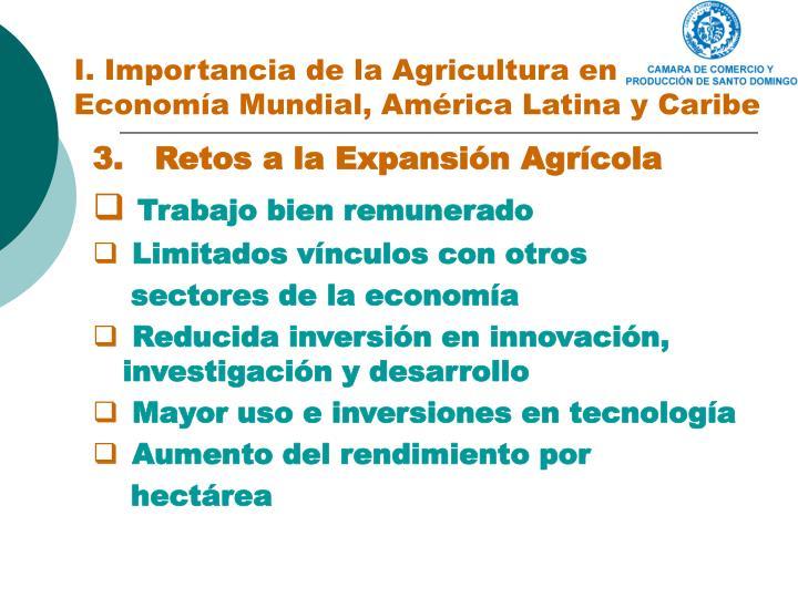 I. Importancia de la Agricultura en
